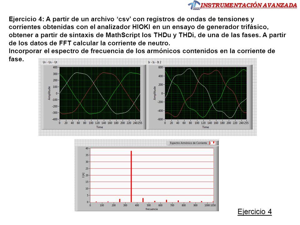 INSTRUMENTACIÓN AVANZADA Ejercicio 4: A partir de un archivo csv con registros de ondas de tensiones y corrientes obtenidas con el analizador HIOKI en