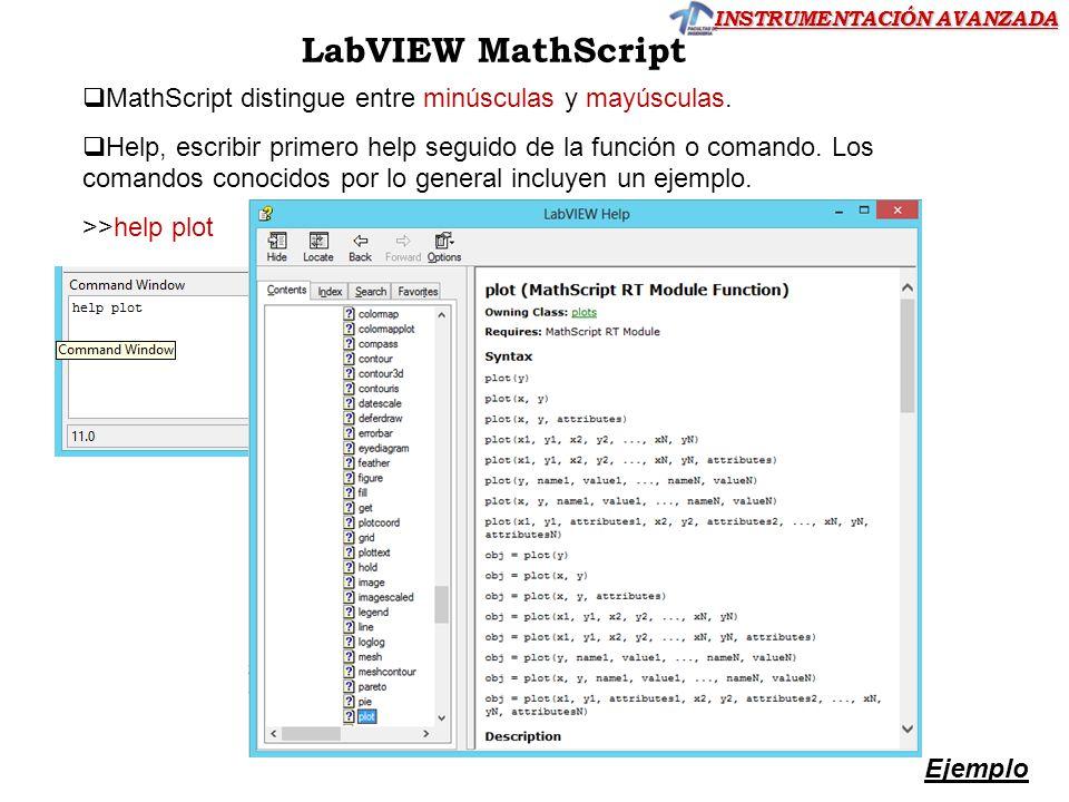 INSTRUMENTACIÓN AVANZADA LabVIEW MathScript MathScript distingue entre minúsculas y mayúsculas. Help, escribir primero help seguido de la función o co