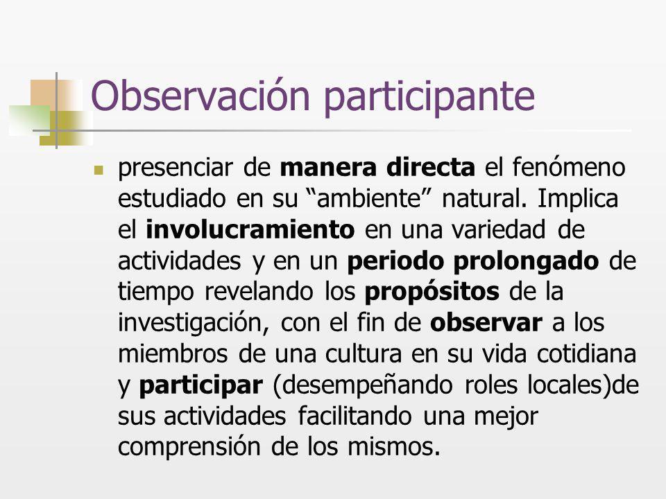 Observación participante presenciar de manera directa el fenómeno estudiado en su ambiente natural. Implica el involucramiento en una variedad de acti