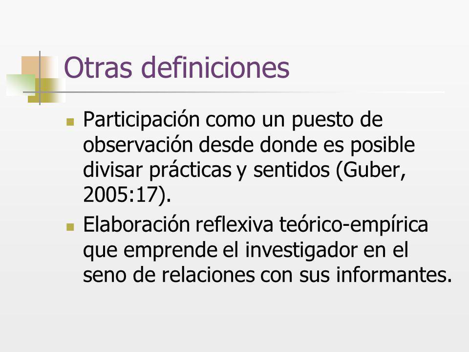 Otras definiciones Participación como un puesto de observación desde donde es posible divisar prácticas y sentidos (Guber, 2005:17). Elaboración refle