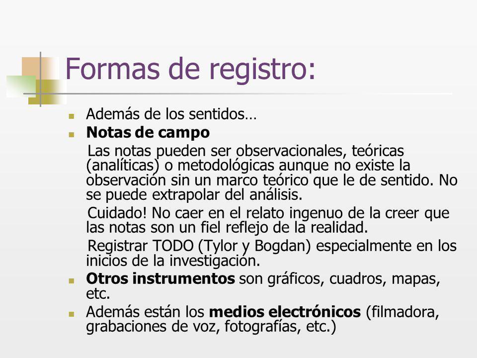 Formas de registro: Además de los sentidos… Notas de campo Las notas pueden ser observacionales, teóricas (analíticas) o metodológicas aunque no exist