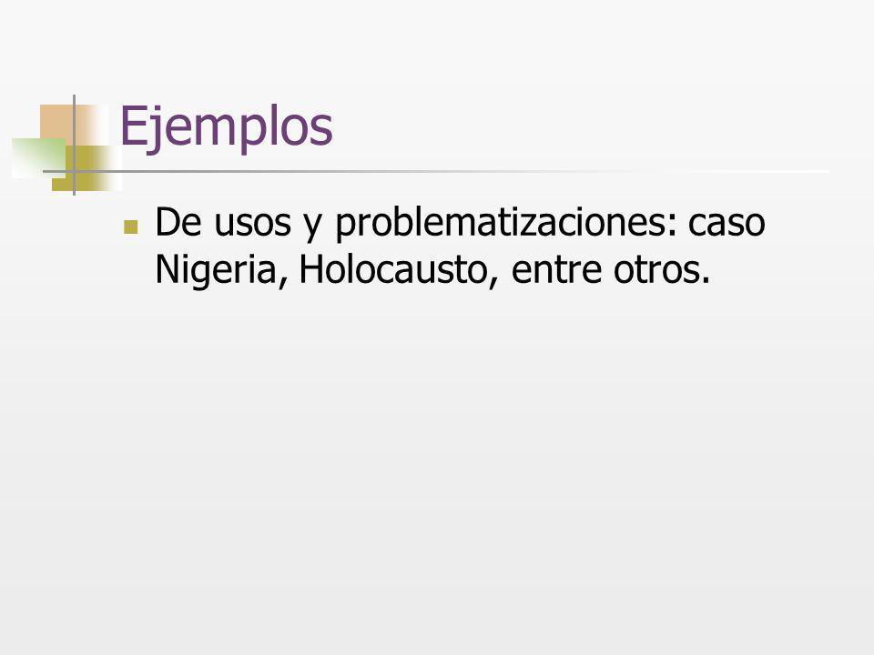 Ejemplos De usos y problematizaciones: caso Nigeria, Holocausto, entre otros.