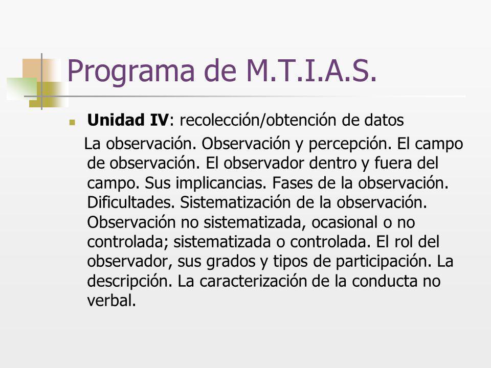 Programa de M.T.I.A.S. Unidad IV: recolección/obtención de datos La observación. Observación y percepción. El campo de observación. El observador dent