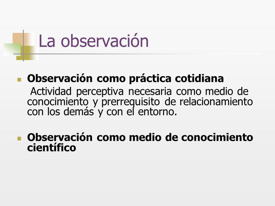 La observación científica Modo de establecer algún tipo de contacto empírico con los objetos/ sujetos/situaciones de interés a los fines de su descripción, explicación, comprensión.