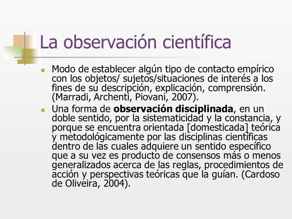 La observación científica Modo de establecer algún tipo de contacto empírico con los objetos/ sujetos/situaciones de interés a los fines de su descrip