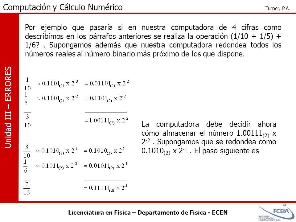 Licenciatura en Física – Departamento de Física - ECEN Computación y Cálculo Numérico Turner, P.A. Unidad III – ERRORES Por ejemplo que pasaría si en
