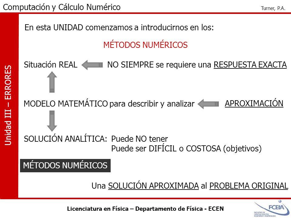 Licenciatura en Física – Departamento de Física - ECEN Computación y Cálculo Numérico Turner, P.A.