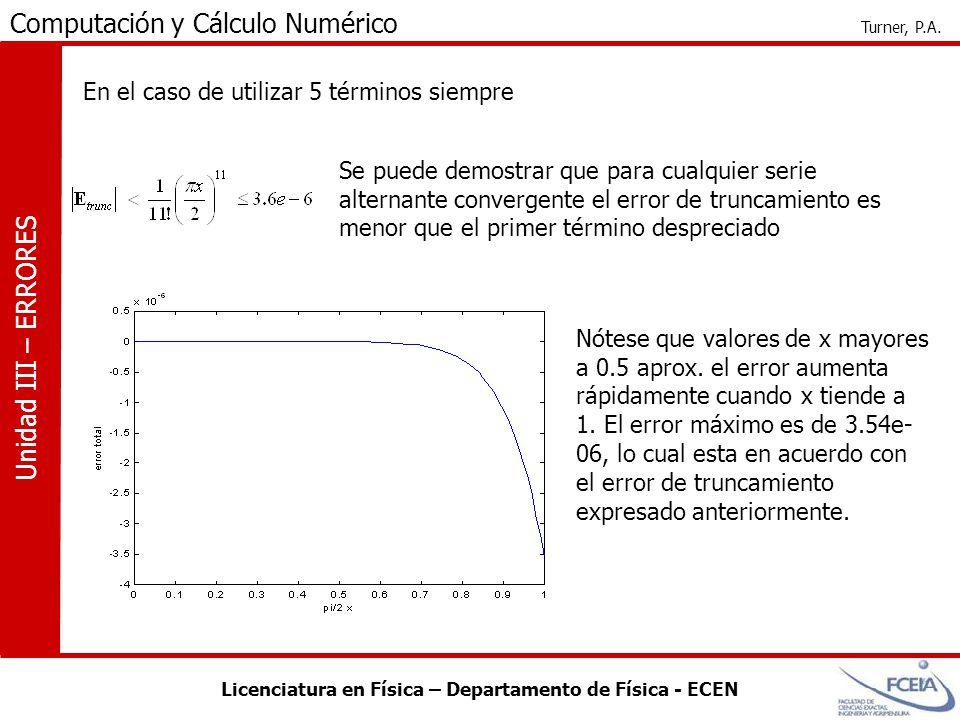 Licenciatura en Física – Departamento de Física - ECEN Computación y Cálculo Numérico Turner, P.A. Unidad III – ERRORES Se puede demostrar que para cu
