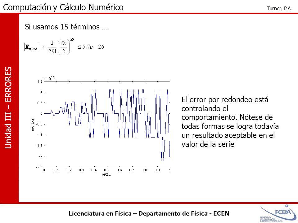 Licenciatura en Física – Departamento de Física - ECEN Computación y Cálculo Numérico Turner, P.A. Unidad III – ERRORES Si usamos 15 términos … El err