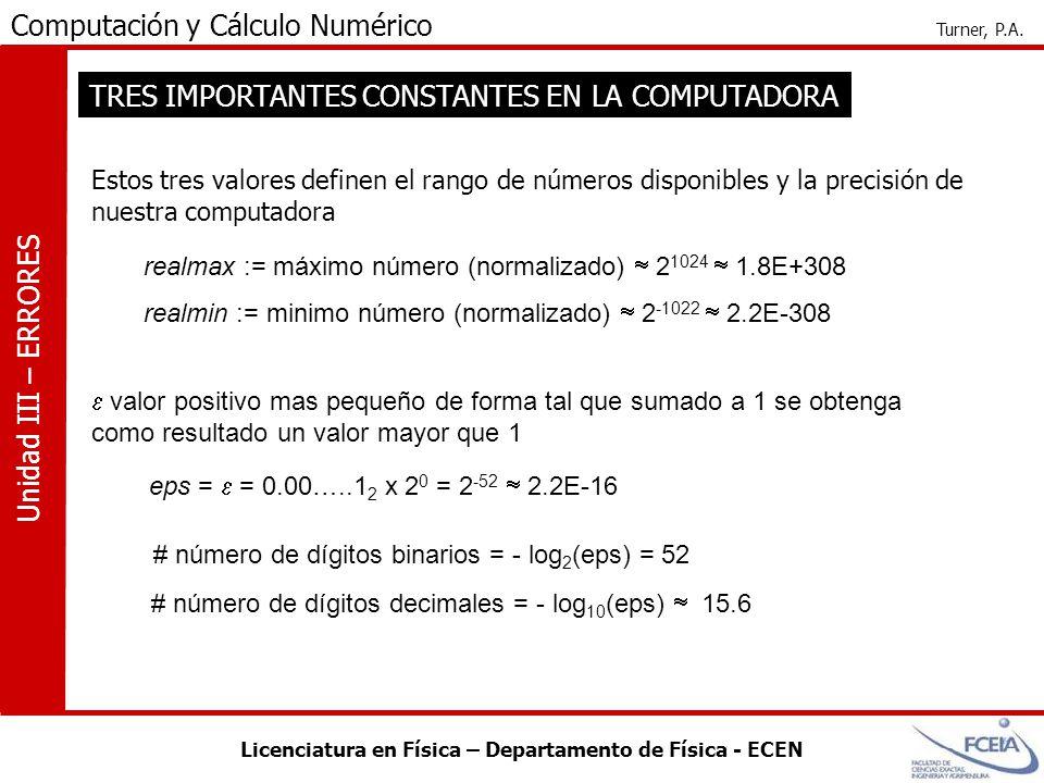 Licenciatura en Física – Departamento de Física - ECEN Computación y Cálculo Numérico Turner, P.A. Unidad III – ERRORES TRES IMPORTANTES CONSTANTES EN