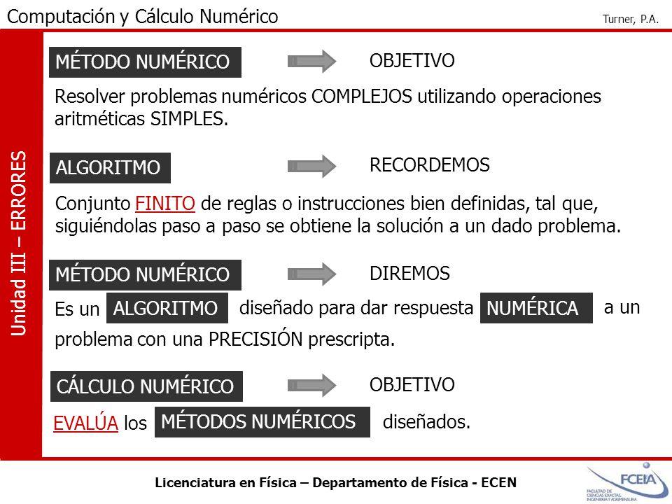 Licenciatura en Física – Departamento de Física - ECEN Computación y Cálculo Numérico Turner, P.A. Unidad III – ERRORES MÉTODO NUMÉRICO Resolver probl