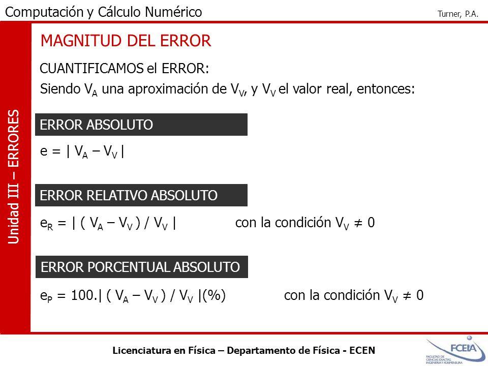Licenciatura en Física – Departamento de Física - ECEN Computación y Cálculo Numérico Turner, P.A. Unidad III – ERRORES MAGNITUD DEL ERROR CUANTIFICAM