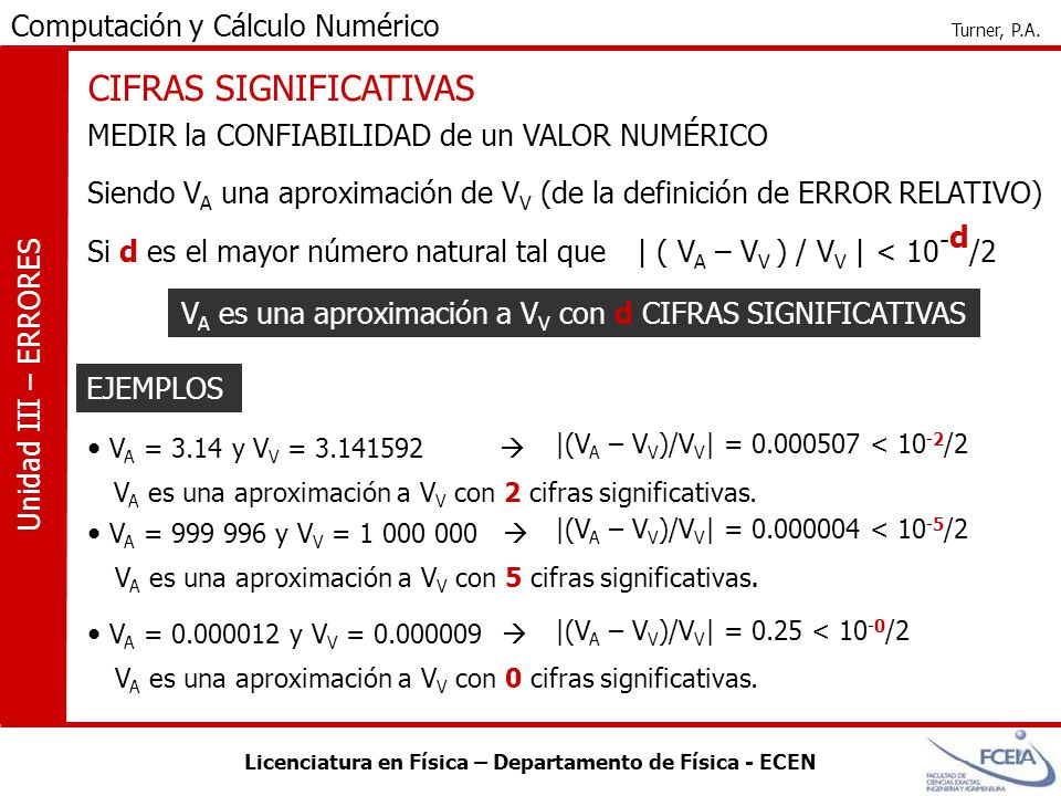 Licenciatura en Física – Departamento de Física - ECEN Computación y Cálculo Numérico Turner, P.A. Unidad III – ERRORES CIFRAS SIGNIFICATIVAS EJEMPLOS