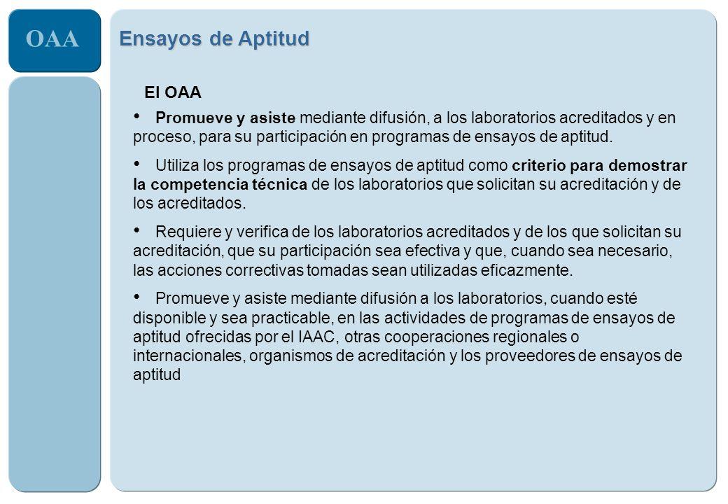 OAA Ensayos de Aptitud El OAA Promueve y asiste mediante difusión, a los laboratorios acreditados y en proceso, para su participación en programas de