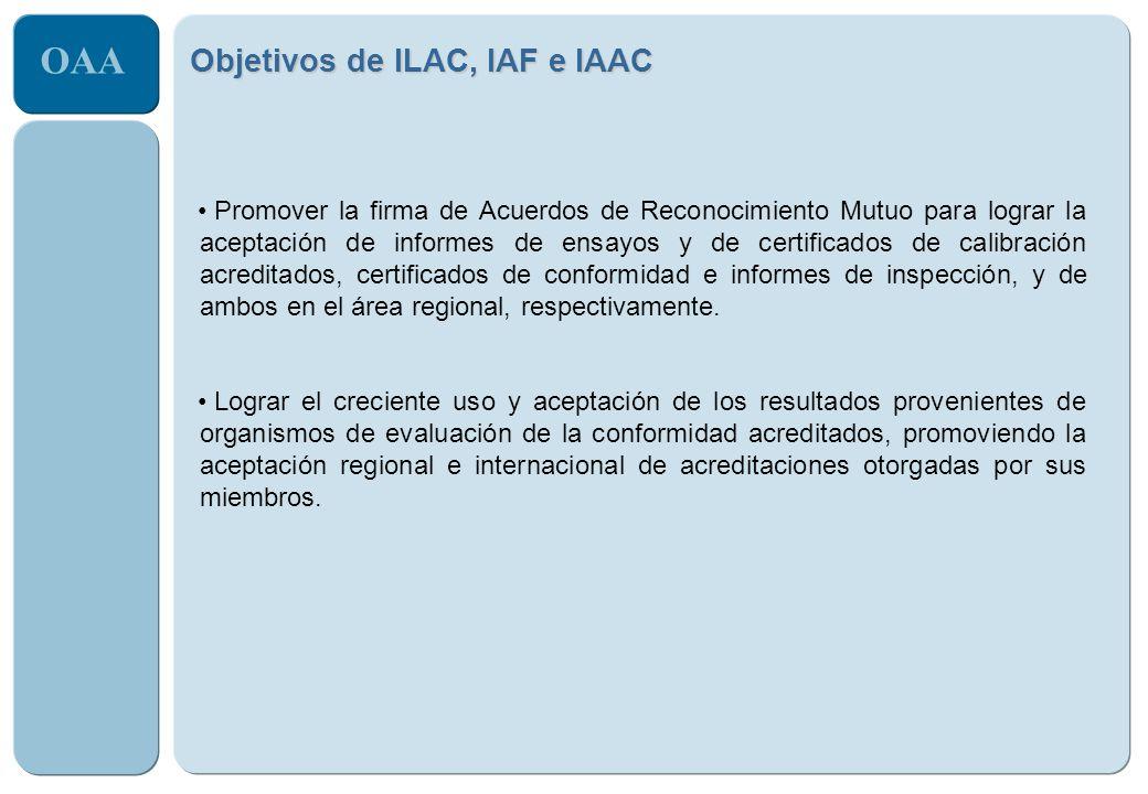 OAA Promover la firma de Acuerdos de Reconocimiento Mutuo para lograr la aceptación de informes de ensayos y de certificados de calibración acreditado