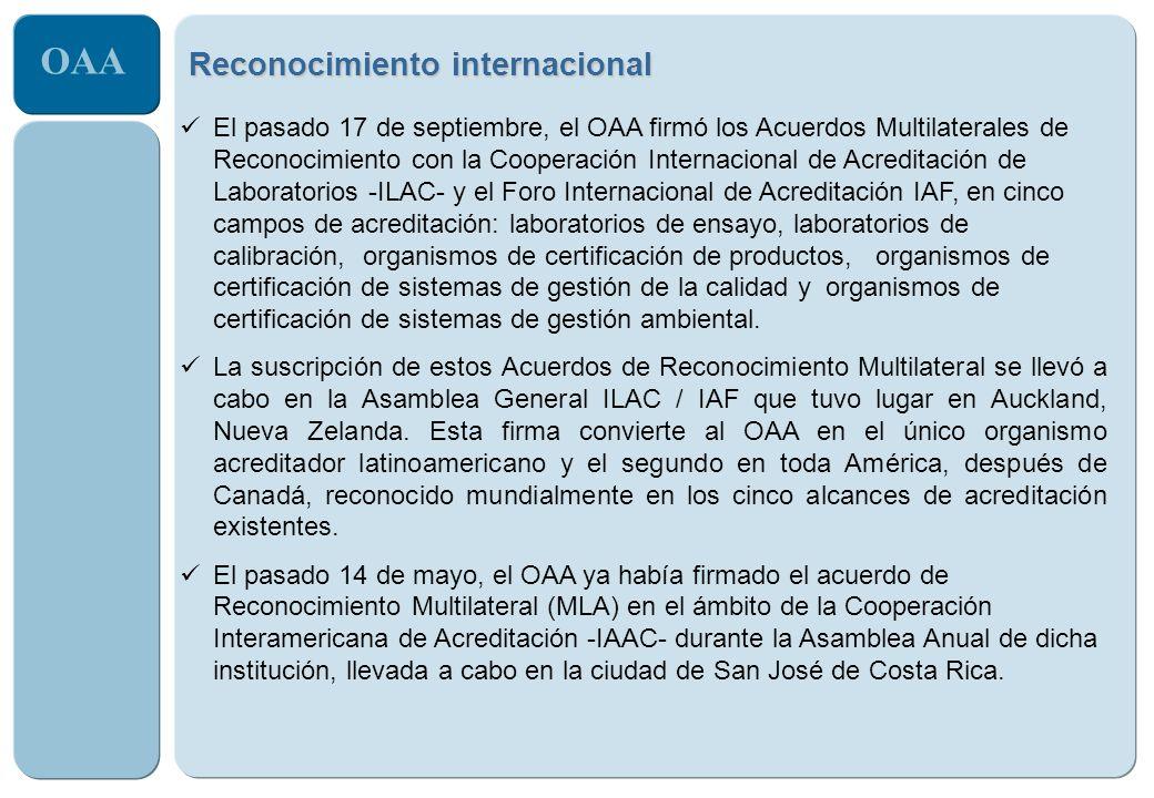 OAA El pasado 17 de septiembre, el OAA firmó los Acuerdos Multilaterales de Reconocimiento con la Cooperación Internacional de Acreditación de Laborat