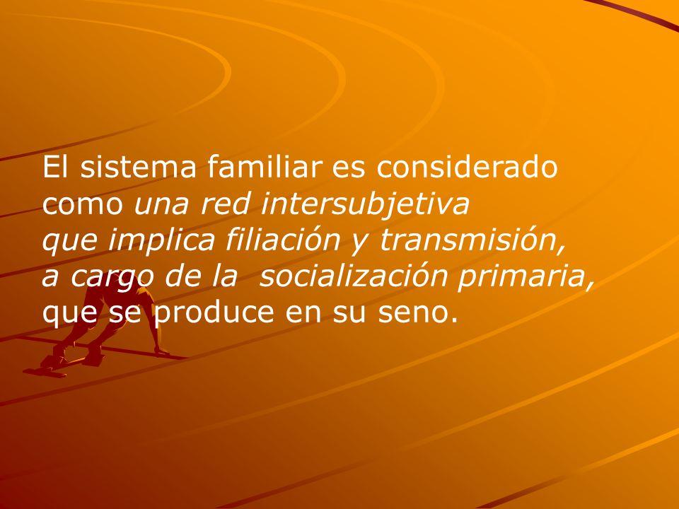 El sistema familiar es considerado como una red intersubjetiva que implica filiación y transmisión, a cargo de la socialización primaria, que se produce en su seno.