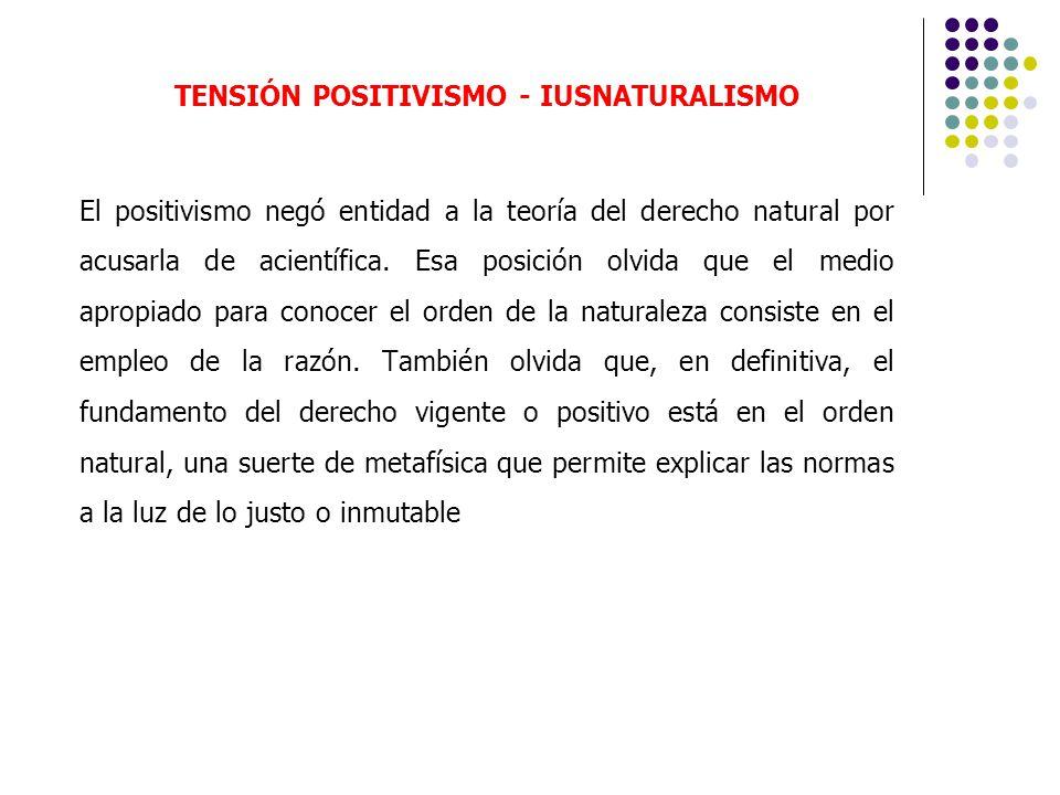 TENSIÓN POSITIVISMO - IUSNATURALISMO El positivismo negó entidad a la teoría del derecho natural por acusarla de acientífica. Esa posición olvida que