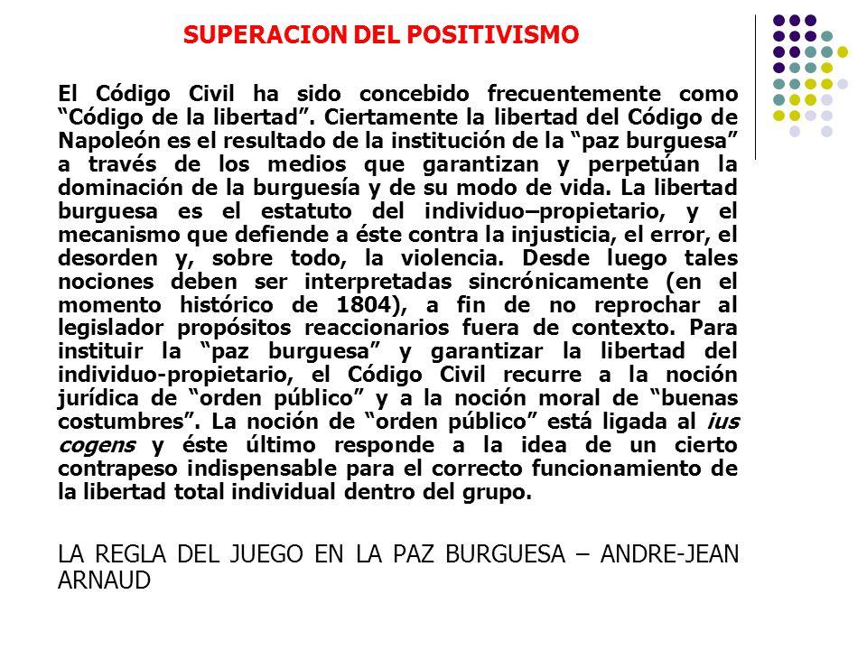 SUPERACION DEL POSITIVISMO El Código Civil ha sido concebido frecuentemente como Código de la libertad. Ciertamente la libertad del Código de Napoleón