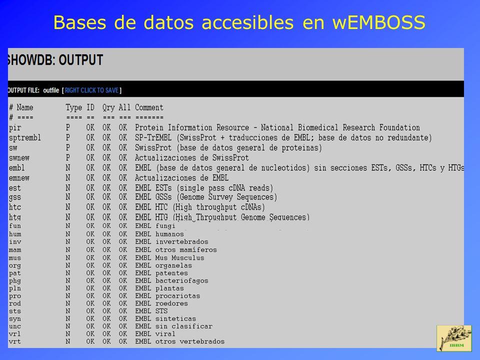 Bases de datos accesibles en wEMBOSS