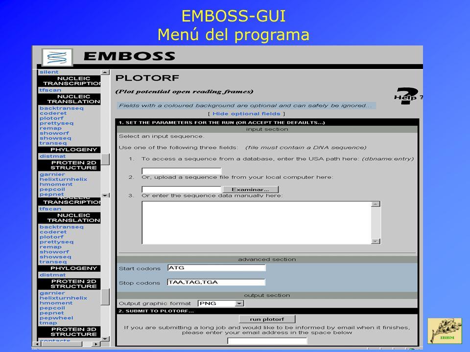 EMBOSS-GUI Menú del programa