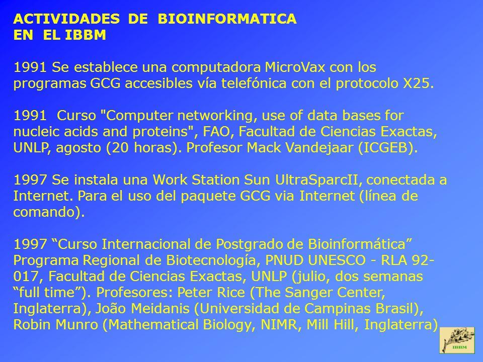 ACTIVIDADES DE BIOINFORMATICA EN EL IBBM 1991 Se establece una computadora MicroVax con los programas GCG accesibles vía telefónica con el protocolo X25.