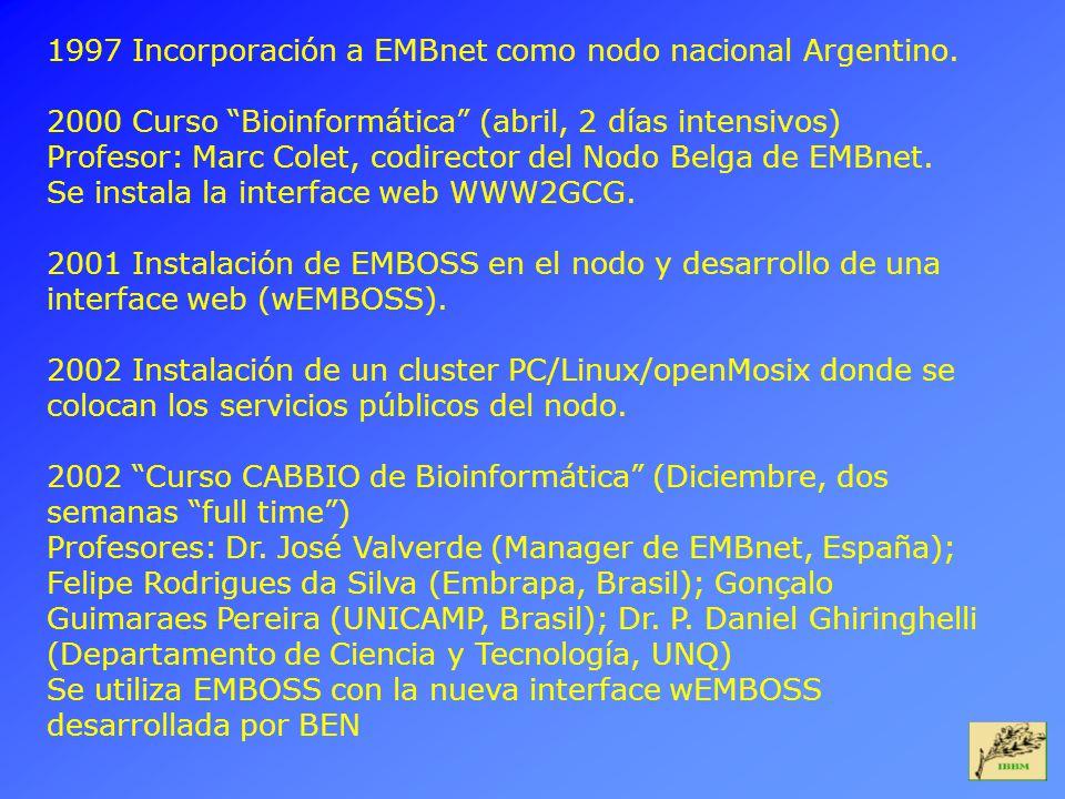 1997 Incorporación a EMBnet como nodo nacional Argentino. 2000 Curso Bioinformática (abril, 2 días intensivos) Profesor: Marc Colet, codirector del No