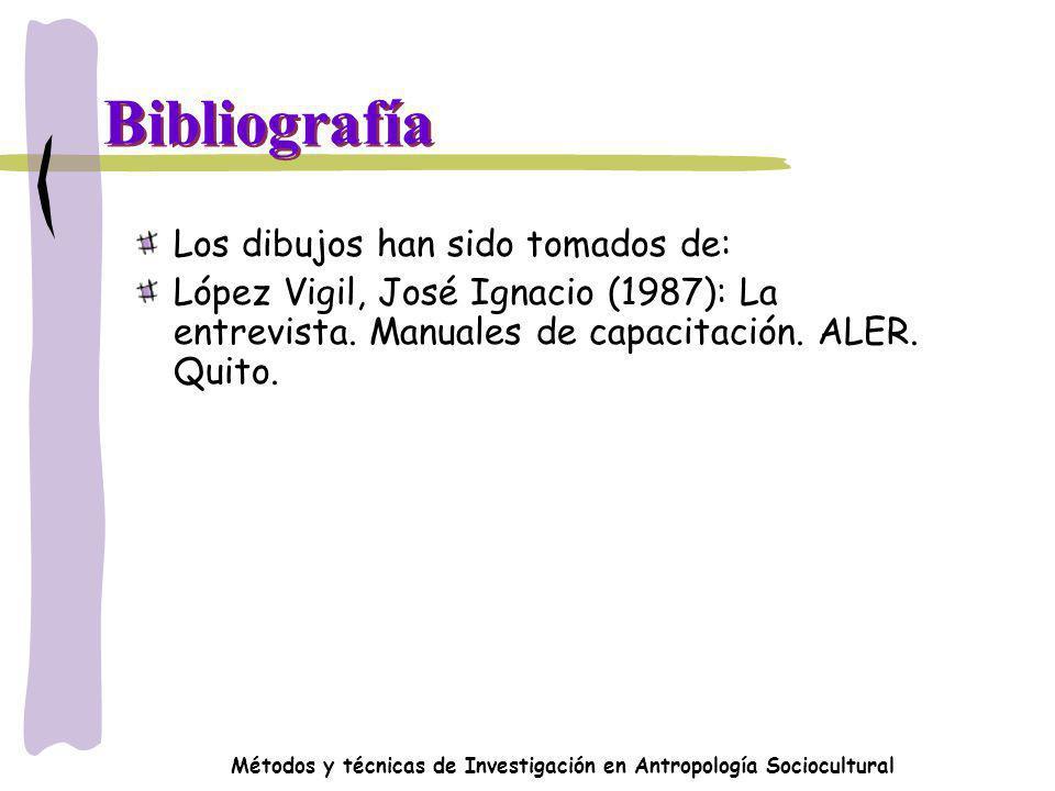 Métodos y técnicas de Investigación en Antropología Sociocultural Bibliografía Los dibujos han sido tomados de: López Vigil, José Ignacio (1987): La e