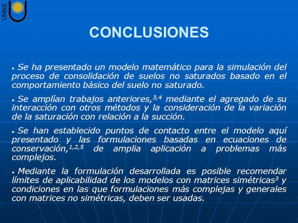 UNNE Se ha presentado un modelo matemático para la simulación del proceso de consolidación de suelos no saturados basado en el comportamiento básico d