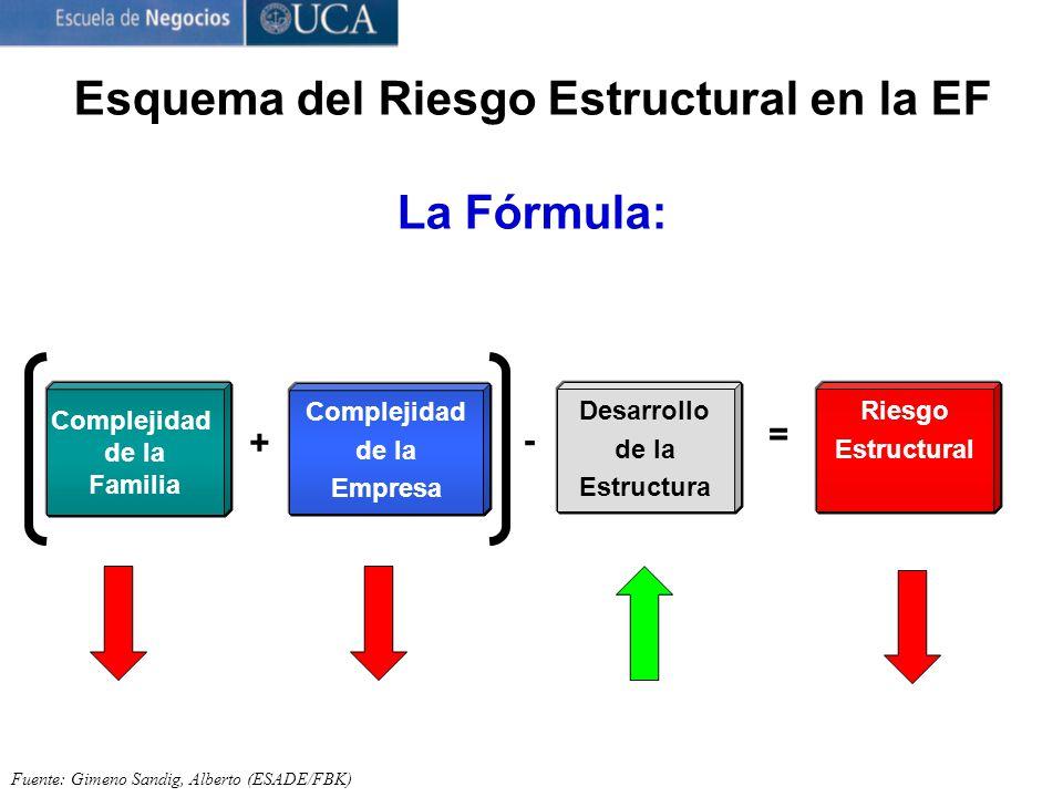 Esquema del Riesgo Estructural en la EF La Fórmula: Fuente: Gimeno Sandig, Alberto (ESADE/FBK) Complejidad de la Familia + Complejidad de la Empresa - Desarrollo de la Estructura = Riesgo Estructural