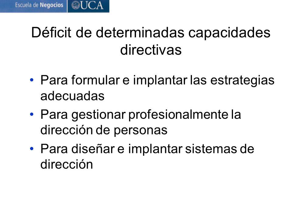 Déficit de determinadas capacidades directivas Para formular e implantar las estrategias adecuadas Para gestionar profesionalmente la dirección de personas Para diseñar e implantar sistemas de dirección