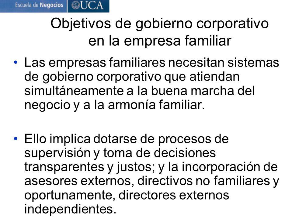 Objetivos de gobierno corporativo en la empresa familiar Las empresas familiares necesitan sistemas degobierno corporativo que atiendan simultáneament