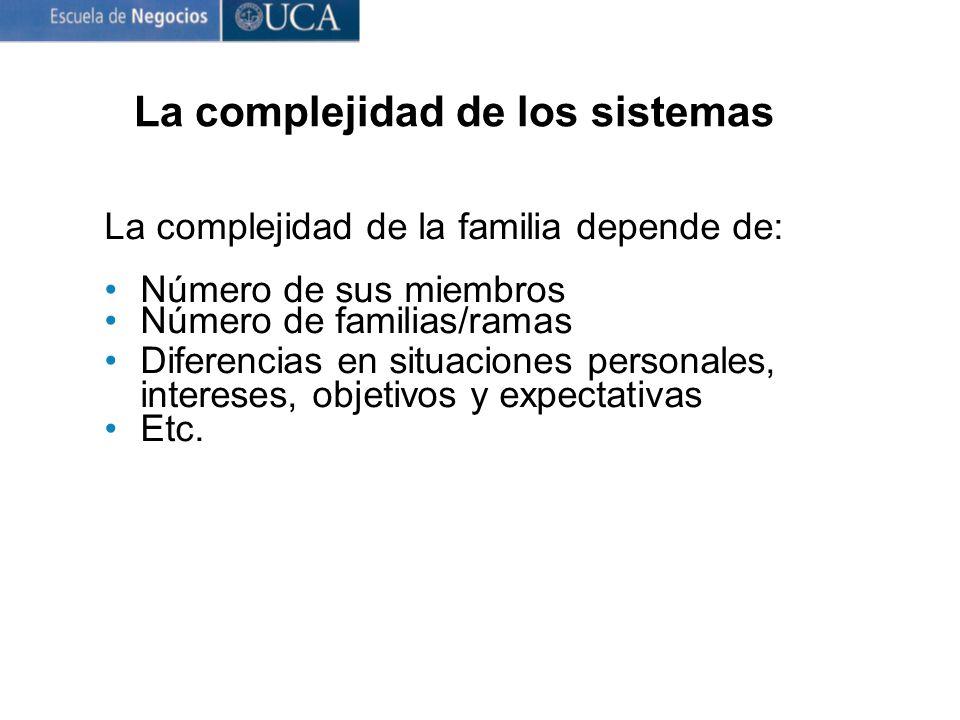 La complejidad de la familia depende de: Número de sus miembros Número de familias/ramas Diferencias en situaciones personales, intereses, objetivos y expectativas Etc.