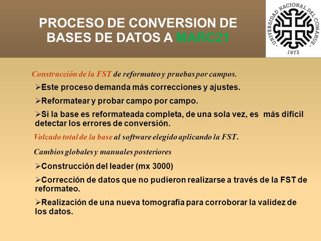 PROCESO DE CONVERSION DE BASES DE DATOS A MARC21 Construcción de la FST de reformateo y pruebas por campos.