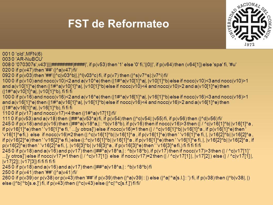 001 0 old ,MFN(6) 003 0 AR-NuBCU 008 0 070307s ,v43 ||||########|####| , if p(v53) then 1 else 0 fi, ||0|| , if p(v64) then (v64[1]) else spa fi, #u 020 0 if p(v47) then ## (|^a|v47) fi/ 092 0 if p(v03) then ## (|^c|v03^b||,|^l|v03^c) fi, if p(v7) then (|^s|v7^s|:|v7^i) fi/ 100 0 if p(v10) and nocc(v10) 1 and a(v10[1]^e) then (|1#^a|v10[1]^a|, |v10[1]^b) else if nocc(v10) 2 and a(v10[1]^e) then (|1#^a|v10[1]^a|, |v10[1]^b), fi fi fi 100 0 if p(v16) and nocc(v16) 1 and a(v16[1]^e) then (|1#^a|v16[1]^a|, |v16[1]^b) else if nocc(v16) 2 and a(v16[1]^e) then (|1#^a|v16[1]^a|, |v16[1]^b), fi fi fi 110 0 if p(v17) and nocc(v17)<4 then (|1#^a|v17[1]) fi/ 111 0 if p(v53) and a(v18) then (|##^a|v53^a) fi, if p(v54) then (|^c|v54|:|v55) fi, if p(v56) then (|^d|v56) fi/ 245 0 if p(v18) and p(v16) then (|##^a|v18^a,| : ^b|v18^b), if p(v16) then if nocc(v16)>3 then (| / ^c|v16[1]^b| |v16[1]^a, if p(v16[1]^e) then v16[1]^e fi, ...[y otros] ) else if nocc(v16)=1 then (| / ^c|v16[1]^b| |v16[1]^a, if p(v16[1]^e) then v16[1]^e fi,) else if nocc(v16)=2 then (|:^c|v16[1]^b| |v16[1]^a, if p(v16[1]^e) then v16[1]^e fi, |, |v16[2]^b| |v16[2]^a, if p(v16[2]^e) then v16[2]^e fi,) else (|:^c|v16[1]^b| |v16[1]^a, if p(v16[1]^e) then v16[1]^e fi, |, |v16[2]^b| |v16[2]^a, if p(v16[2]^e) then v16[2]^e fi, |, |v16[3]^b| |v16[3]^a, if p(v16[3]^e) then v16[3]^e fi,) fi fi fi fi fi 245 0 if p(v18) and a(v16) and p(v17) then (|##^a|v18^a,| : ^b|v18^b), if p(v17) then if nocc(v17)>3 then (| / ^c|v17[1] ...[y otros] ) else if nocc(v17)=1 then (| / ^c|v17[1]) else if nocc(v17)=2 then (| / ^c|v17[1] |, |v17[2] ) else (| / ^c|v17[1] |, |v17[2]|; |v17[3]) fi fi fi fi fi 245 0 if p(v18) and a(v16) and a(v17) then (|##^a|v18^a,| : ^b|v18^b) fi 250 0 if p(v41) then ## (|^a|v41) fi/ 260 0 if p(v39) or p(v38) or p(v43) then ## if p(v39) then (|^a|v39| : |) else (|^a| ^a[s.l.] : ) fi, if p(v38) then (|^b|v38|, |) else (|^b| ^b[s.e.] ) fi, if p(v43) then (|^c|v43) else (|^c| ^c[s.f.] ) fi fi/ FST de Reformateo