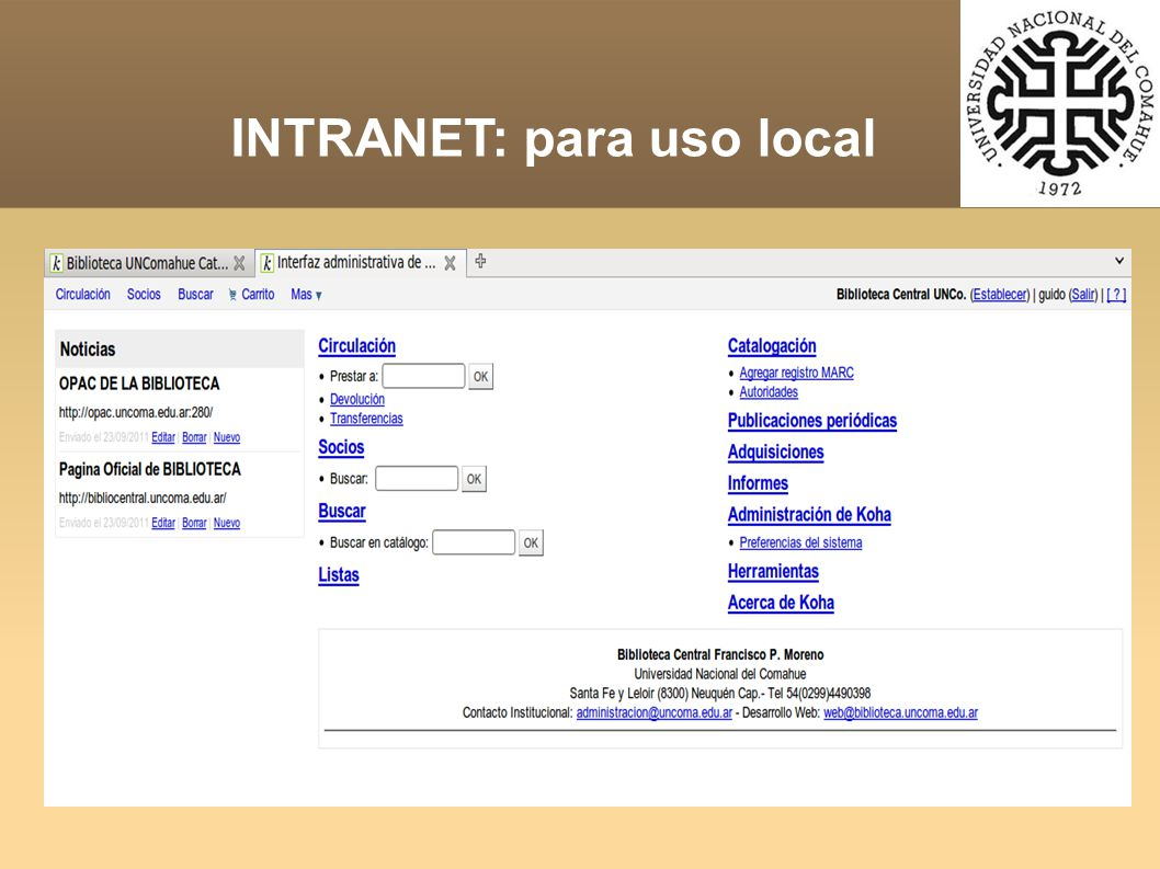 INTRANET: para uso local