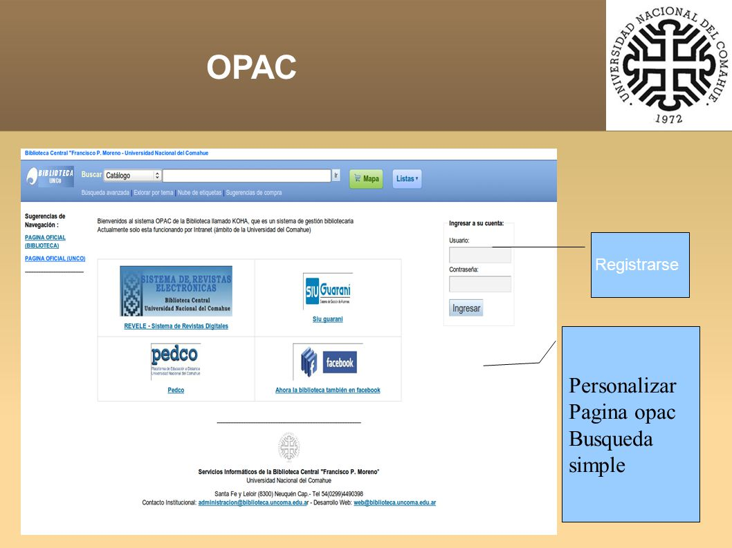 OPAC Personalizar Pagina opac Busqueda simple Registrarse