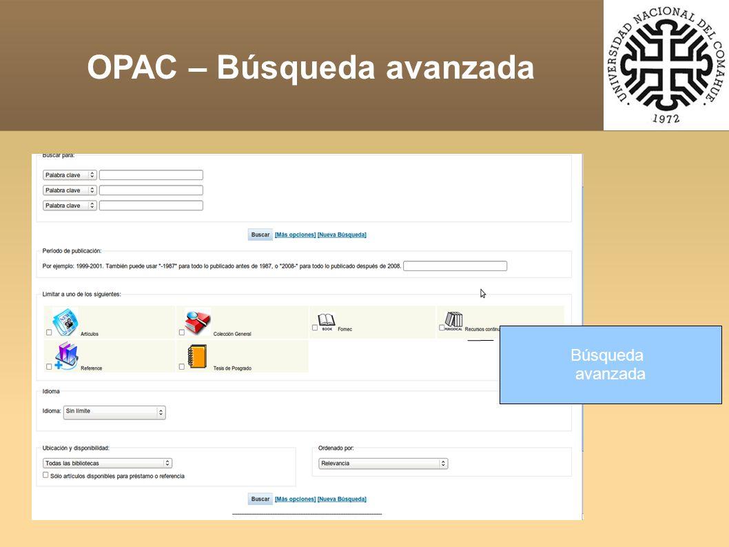 Búsqueda avanzada OPAC – Búsqueda avanzada
