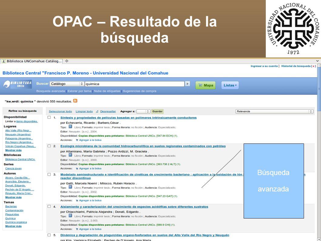 Búsqueda avanzada OPAC – Resultado de la búsqueda