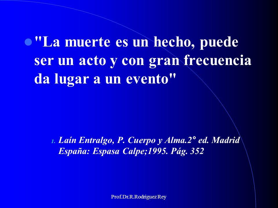 Prof.Dr.R.Rodriguez Rey DEFINICIONES GENERALES DE MUERTE Separación del cuerpo y del alma