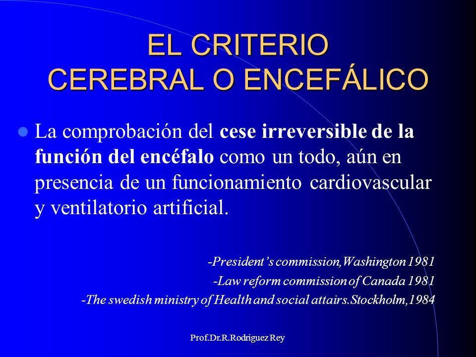 Prof.Dr.R.Rodriguez Rey MUERTE ENCEFÁLICA Es importante anotar que Juan Pablo II presenta la muerte encefálica como signo de que se ha perdido la capacidad de integración del organismo individual en cuanto tal.