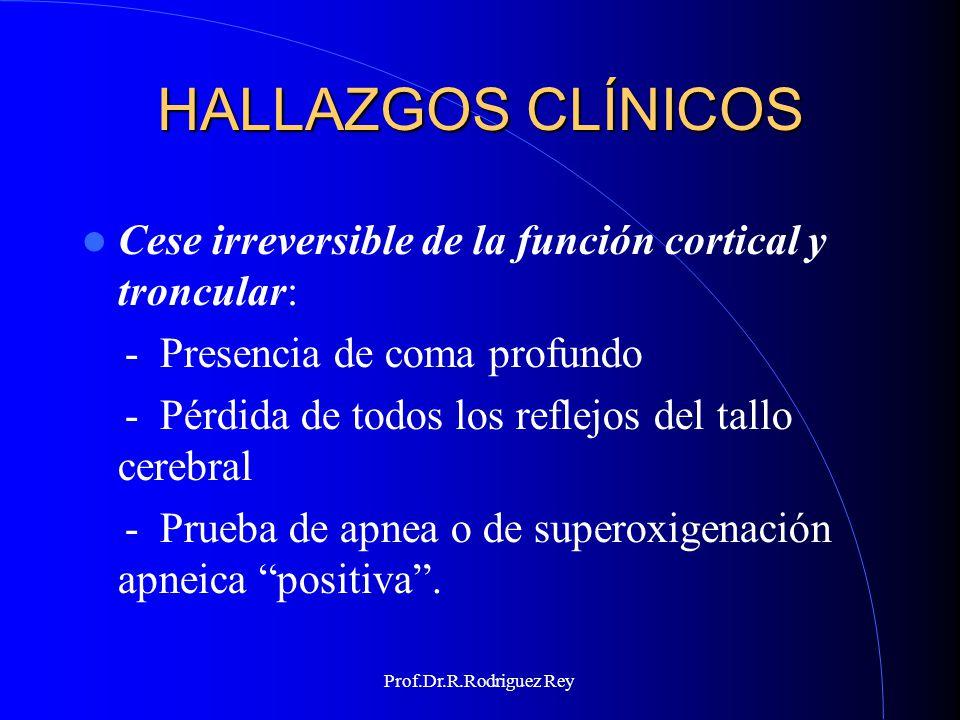 Prof.Dr.R.Rodriguez Rey COMA PROFUNDO Ningún tipo de respuesta a estímulos Los reflejos espinales, osteotendinosos viscerosomáticos y viscerales están permitidos Algunas respuestas espinales complejas (reflejo de Lázaro) pueden presentarse.