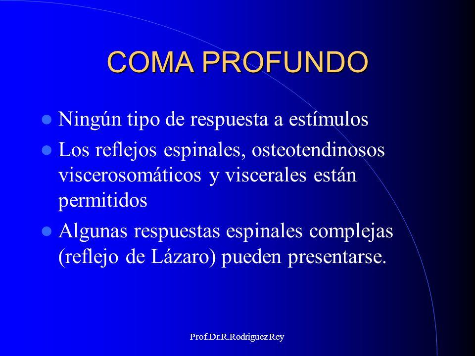 Prof.Dr.R.Rodriguez Rey PÉRDIDA DE TODOS LOS REFLEJOS DE TALLO CEREBRAL PUPILAR: - Pupilas en línea media con tamaño mayor a 4 mm La decorticación debe estar ausente OCULOCEFÁLICOS Y VESTIBULARES Pruebas calóricas PONTINOS Corneano, mandibular, chupeteo, mentoniano,trompa.