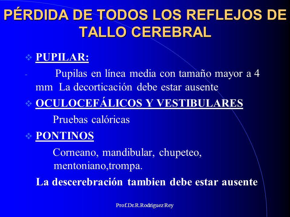 Prof.Dr.R.Rodriguez Rey PÉRDIDA DE TODOS LOS REFLEJOS DE TALLO CEREBRAL BULBARES - Nauseoso y carinal - Vasopresor y respiratorio - La alteración de la frecuencia cardíaca por la inyección de atropina EV se considera una respuesta positiva - Prueba de apnea