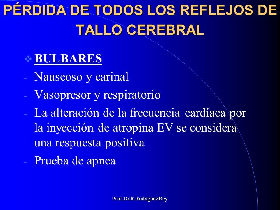 Prof.Dr.R.Rodriguez Rey PRUEBA DE APNEA META: permitir un aumento de pCO2 a por lo menos 60 mmHg sin disminuir el pH por debajo de 7.1 ni disminuir el pO2 por debajo de 60 mmHg.