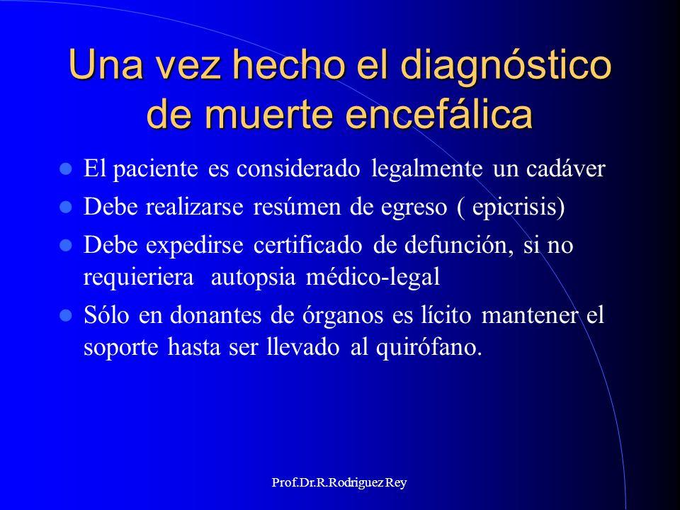 Prof.Dr.R.Rodriguez Rey EXÁMENES PARACLÍNICOS CONFIRMATORIOS Ninguno hace diagnóstico de muerte encefálica No son requeridos para el diagnóstico, sólo ayudan a soportarlo La AAN recomienda practicarlos en caso de falta de certeza clinica
