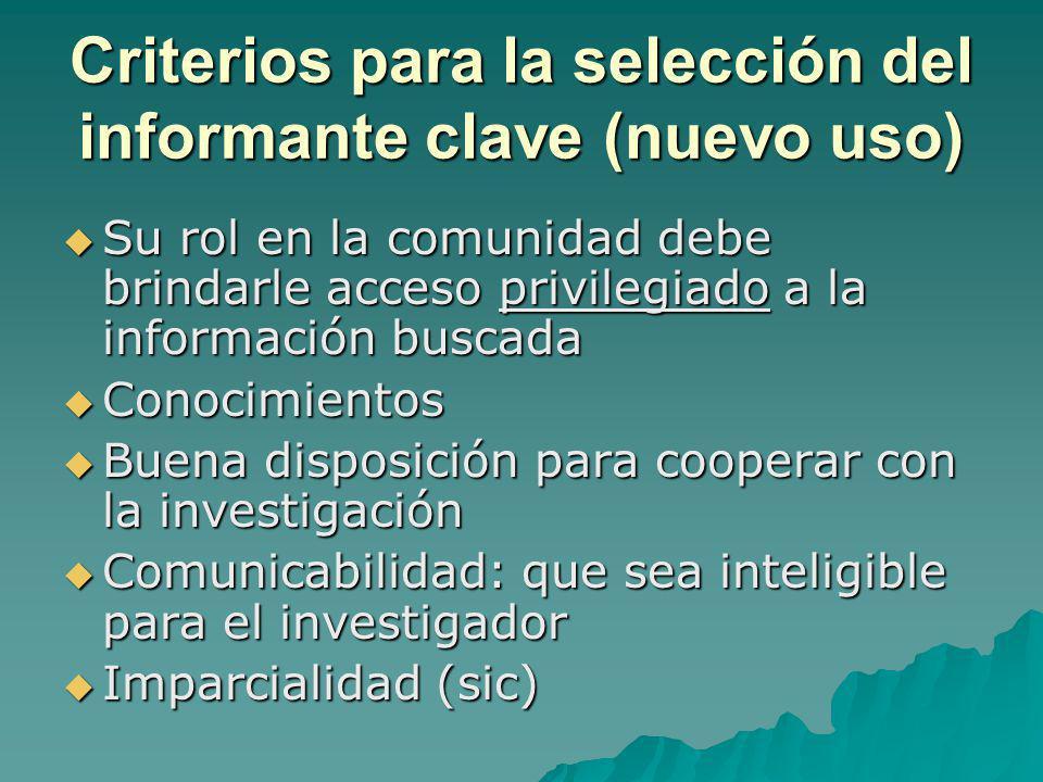 Criterios para la selección del informante clave (nuevo uso) Su rol en la comunidad debe brindarle acceso privilegiado a la información buscada Su rol