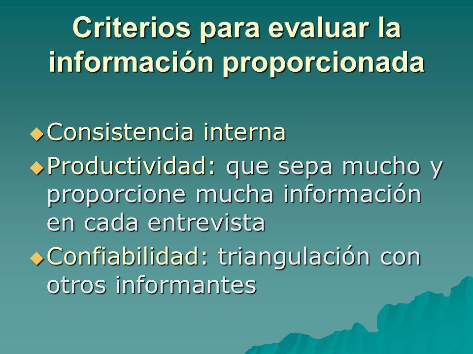 Criterios para evaluar la información proporcionada Consistencia interna Consistencia interna Productividad: que sepa mucho y proporcione mucha inform