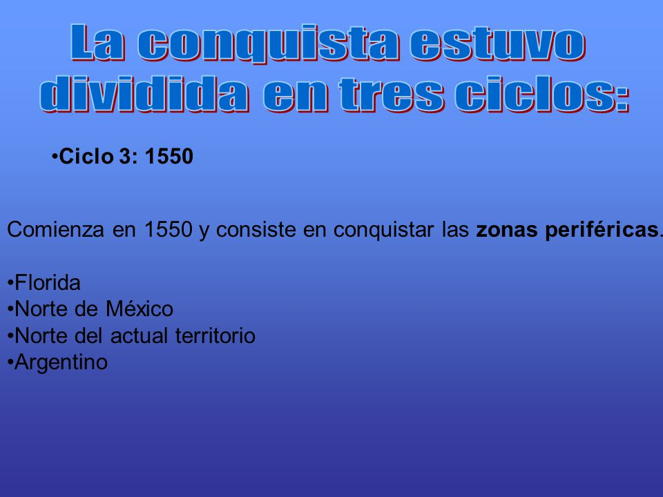Ciclo 3: 1550 Comienza en 1550 y consiste en conquistar las zonas periféricas. Florida Norte de México Norte del actual territorio Argentino