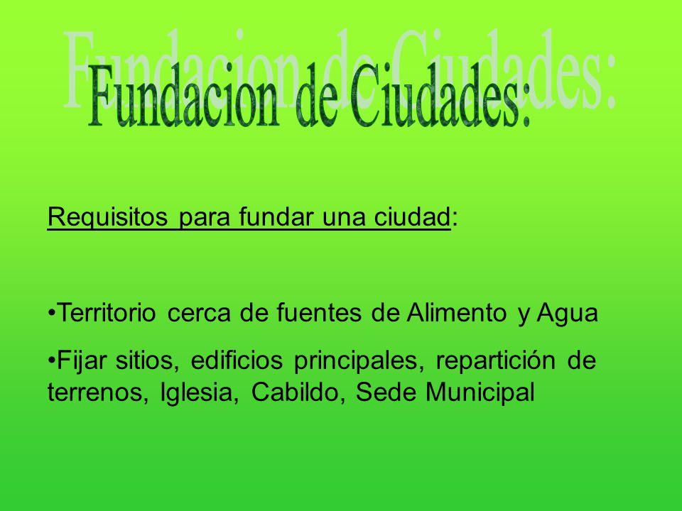 Requisitos para fundar una ciudad: Territorio cerca de fuentes de Alimento y Agua Fijar sitios, edificios principales, repartición de terrenos, Iglesi